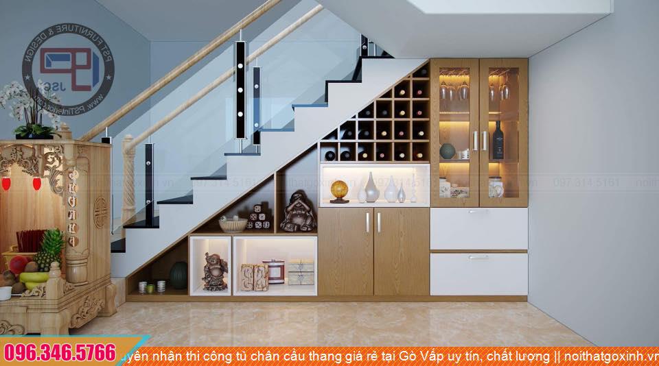 Chuyên nhận thi công tủ chân cầu thang giá rẻ tại Gò Vấp uy tín, chất lượng