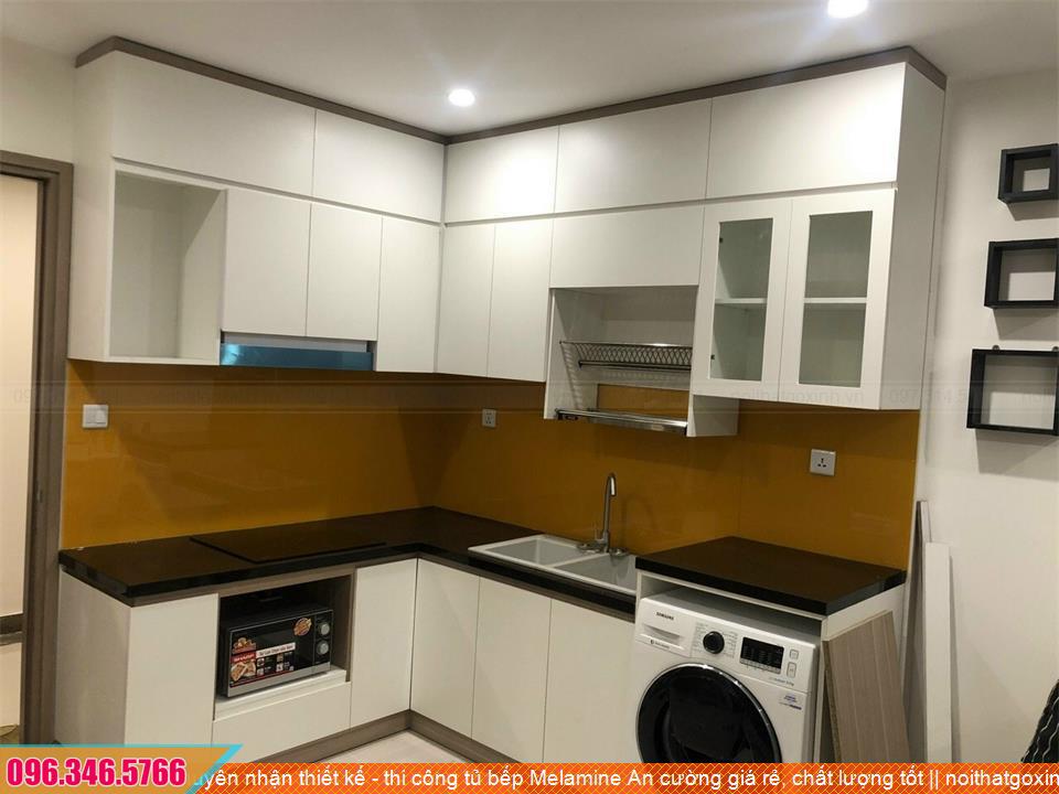 Chuyên nhận thiết kế - thi công tủ bếp Melamine An cường giá rẻ, chất lượng tốt