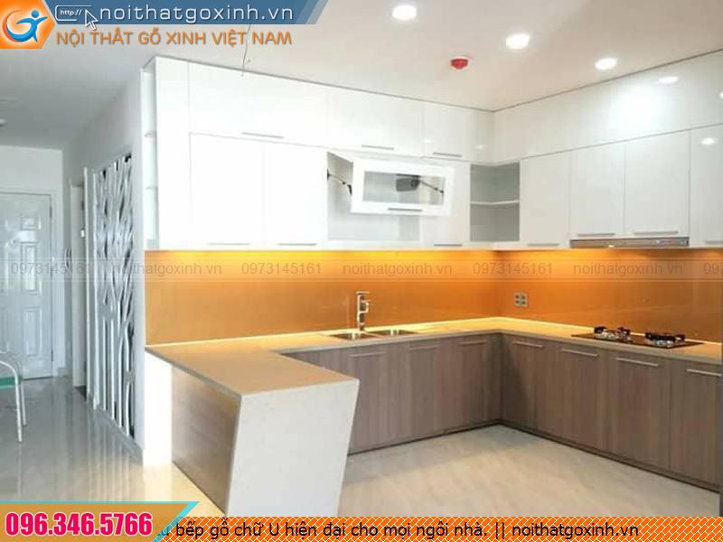 Loại tủ bếp gỗ chữ U hiện đại cho mọi ngôi nhà.