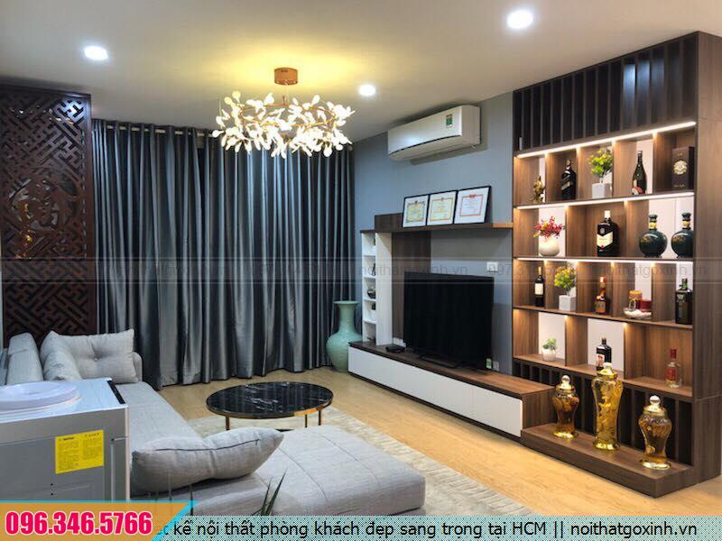 Thiết kế nội thất phòng khách đẹp sang trọng tại HCM