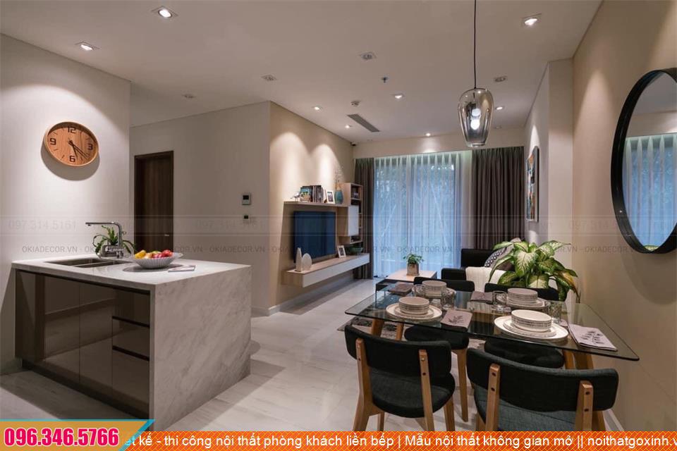 Thiết kế - thi công nội thất chung cư phòng khách liền bếp   Mẫu nội thất không gian mở