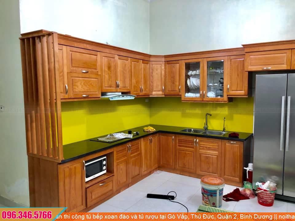 Dự án thi công tủ bếp xoan đào và tủ rượu tại Gò Vấp, Thủ Đức, Quận 2, Bình Dương 1731204DW