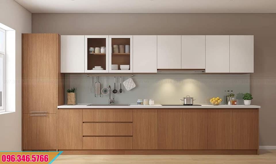 Mẫu thiết kế tủ bếp Melamine màu trắng vân gỗ đẹp 292020KJ2