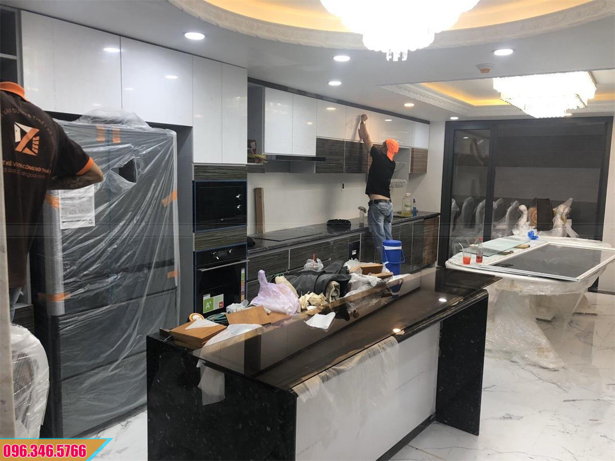 Mẫu tủ bếp Acrylic thẳng, tủ bếp màu trắng vân gỗ 0520207CP