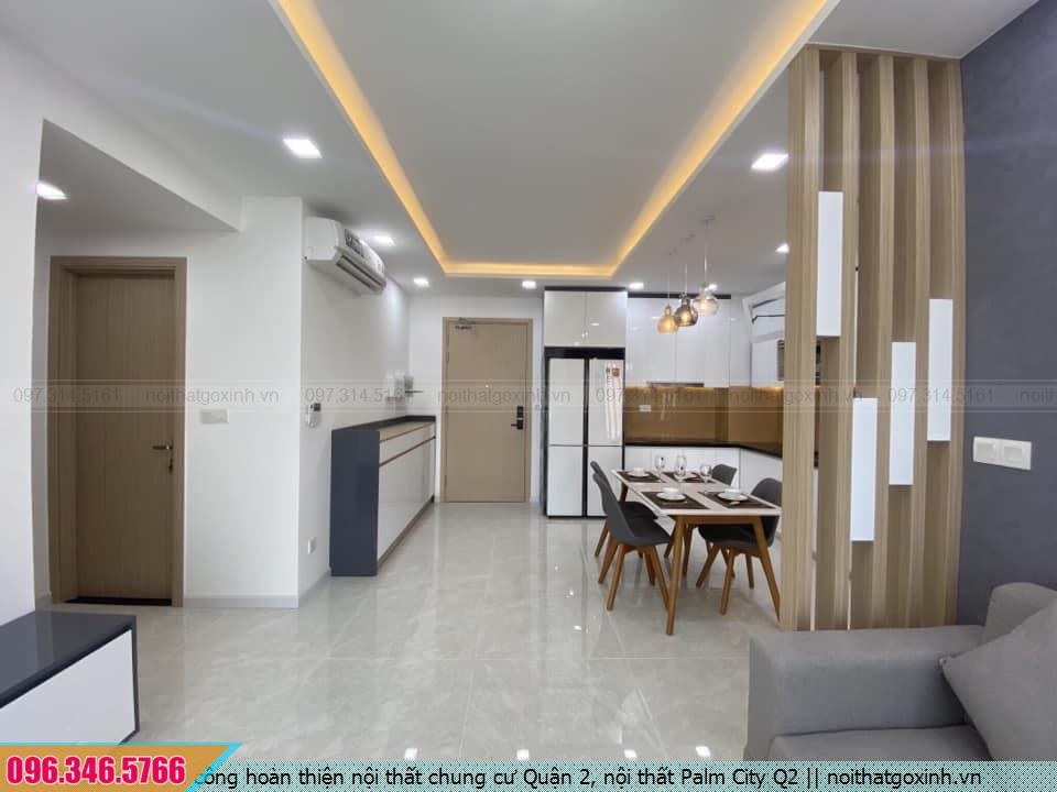 Thi công hoàn thiện nội thất chung cư Quận 2, nội thất Palm City Q2