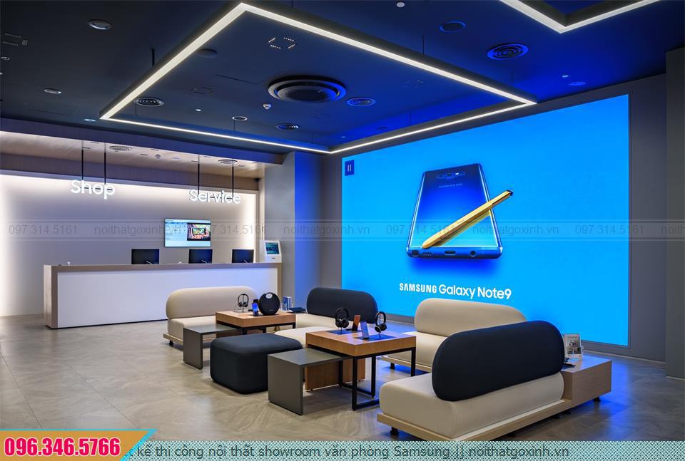 Thiết kế thi công nội thất showroom văn phòng Samsung