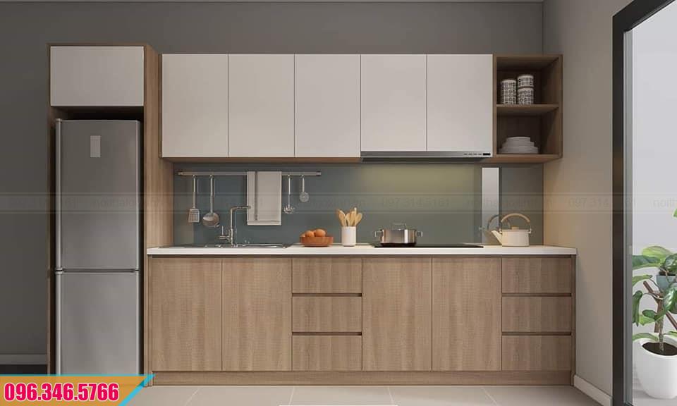 Thiết kế tủ bếp Melamine thẳng phổ biến cho chung cư 452020P9C