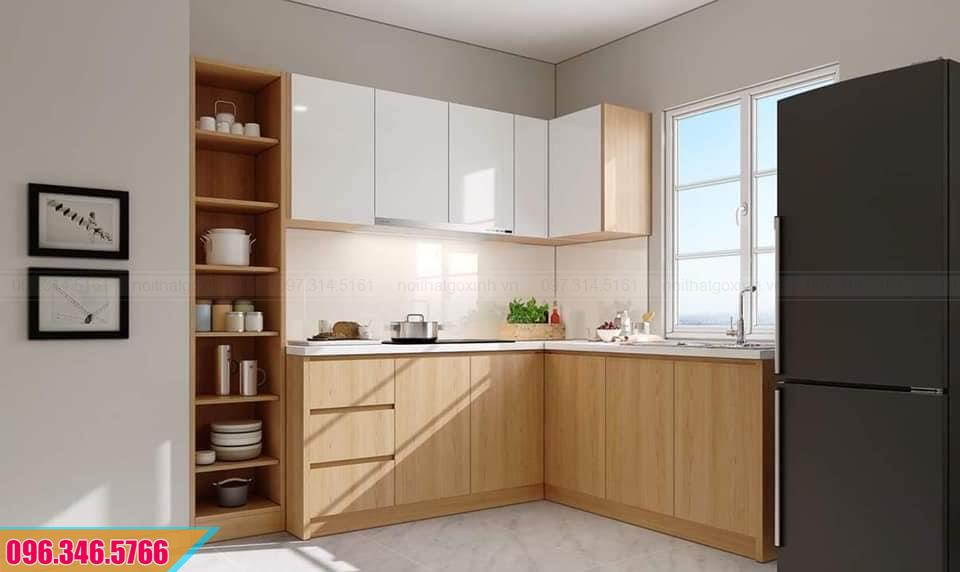 Tủ bếp chữ L Melamine màu vân gỗ và trắng có tủ kho 452020BQZ