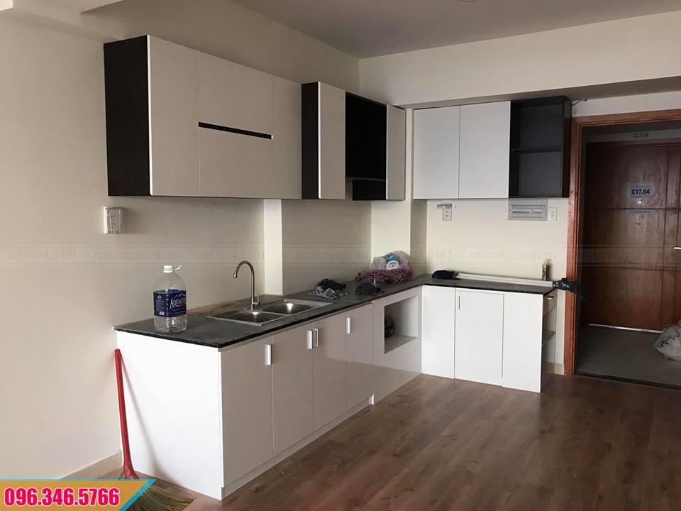 Tủ bếp Melamine chữ L chống ẩm màu trắng đen 512020P4N