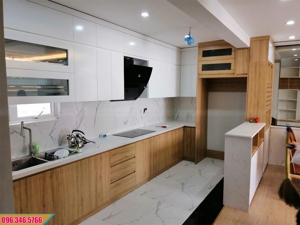 Tủ bếp Melamine có quầy bar nhỏ hiện đại 232020SRN