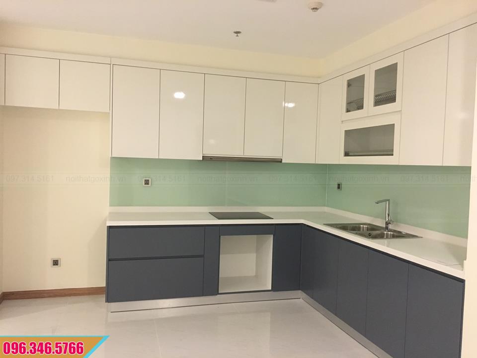Tủ bếp Melamine màu trắng xám chữ L tiện ích 3820202JH