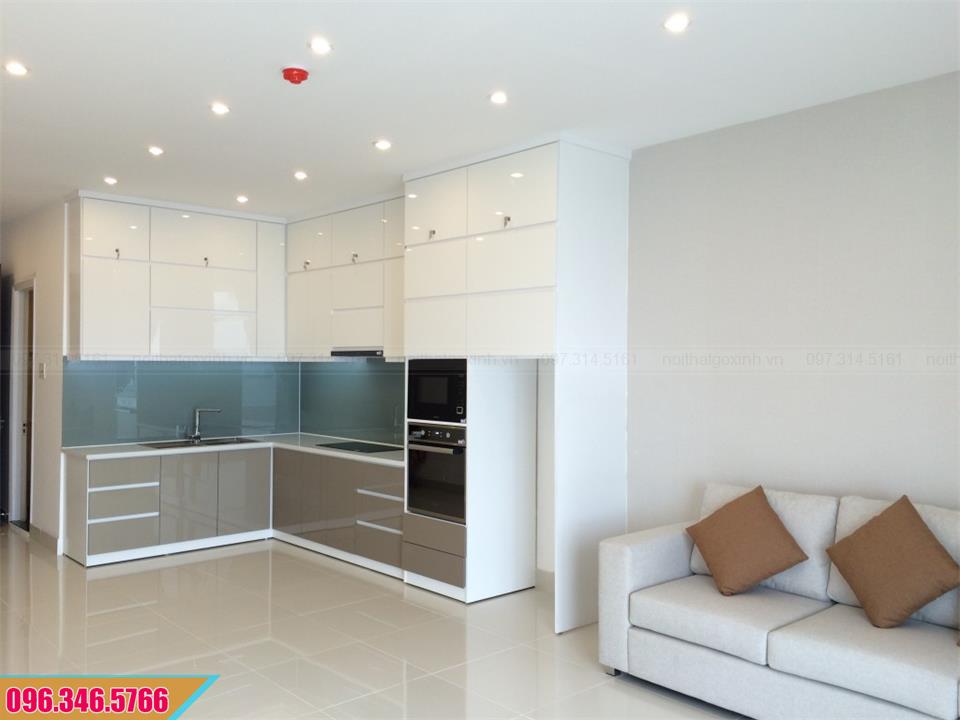 Tủ bếp trên Acrylic trắng, tủ bếp dưới Acrylic xám chữ L 522020U1C