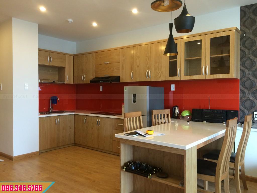 Tủ bếp Veneer vân gỗ tự nhiên chữ L 582020Q21